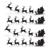 Kreskówki kolekcja Bożenarodzeniowy Święty Mikołaj jedzie reniferowego sanie na bożych narodzeniach z różną pozy emocją Wektor us ilustracja wektor