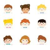 Kreskówki kolekcja małe dziecko portrety trzyma pustego wh Fotografia Stock