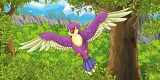 Kreskówki kolorowy ptasi latanie w lesie royalty ilustracja
