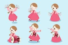 Kreskówki Korea dziewczyna ilustracja wektor