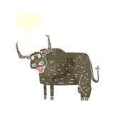 kreskówki kosmata krowa z mowa bąblem Obraz Stock