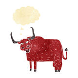 kreskówki kosmata krowa z myśl bąblem Zdjęcia Stock