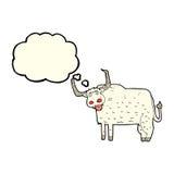 kreskówki kosmata krowa z myśl bąblem Zdjęcie Royalty Free
