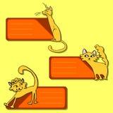 kreskówki kotów śliczne etykietki Ilustracja Wektor