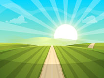 kreskówki krajobrazowa ilustracja słońce droga, chmura, wzgórze royalty ilustracja