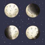 Kreskówki księżyc fazy Obrazy Stock