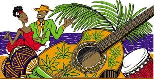 Kreskówki kubańskiej pary dancingowy salsa na plaży, marakasy, kubańscy Zdjęcia Royalty Free