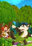 Kreskówki lasowa scena dobra dla różnych bajek - wilcza falowanie mała dziewczynka dla do widzenia - ilustracji
