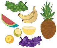 Kreskówki lata doodle koloru miękkich owoc ręki remisu cukierniana sztuka royalty ilustracja