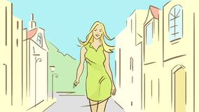 Kreskówki lata dziewczyna Chodzi Grodzką ulicę Fotografia Royalty Free