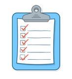 Kreskówki lista kontrolna z czek ocenami na schowku Obrazy Stock