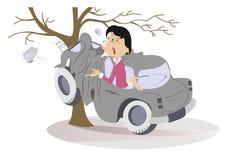 Kreskówki młoda kobieta miał w wypadek drogowego royalty ilustracja