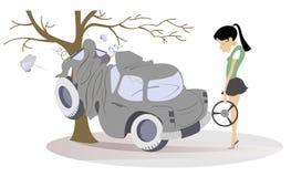 Kreskówki młoda kobieta miał w wypadek drogowego ilustracji