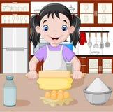 Kreskówki mała dziewczynka rozciąga ciasto royalty ilustracja