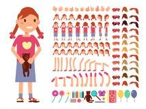Kreskówki małej dziewczynki śliczny charakter Wektorowy tworzenie konstruktor z różnymi emocjami i części ciała royalty ilustracja