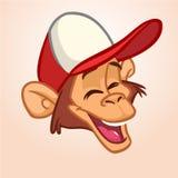 Kreskówki małpa Wektorowa szczęśliwa małpy głowy ikona obraz royalty free