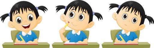 Kreskówki małej dziewczynki studiowanie Obraz Royalty Free
