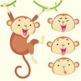 Kreskówki małpa z emocjami Obraz Royalty Free