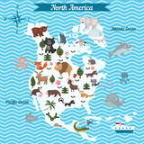 Kreskówki mapa Północna Ameryka kontynent z różnymi zwierzętami ilustracji