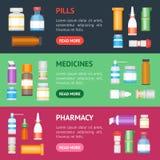 Kreskówki medycyny butelki dla leka sztandaru Horyzontalnego setu wektor royalty ilustracja