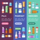 Kreskówki medycyny butelki dla leka sztandaru Vecrtical setu wektor ilustracji