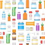 Kreskówki medycyny butelki dla leka tła wzoru wektor ilustracja wektor
