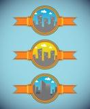 Kreskówki miasta etykietki - dzień wersja royalty ilustracja