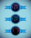 Kreskówki miasta etykietki - nocy wersja ilustracja wektor