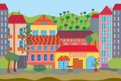 kreskówki miasta wzór bezszwowy ilustracji