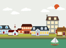 Kreskówki miasteczko - wektoru krajobraz Zdjęcia Stock
