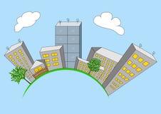 Kreskówki miasto na globalnym Obraz Royalty Free
