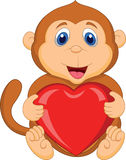 Kreskówki mienia czerwieni małpi serce Fotografia Stock
