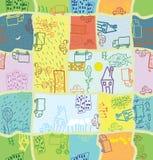 kreskówki mieszkana wzór bezszwowy Zdjęcie Stock