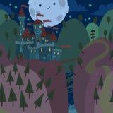 Kreskówki mieszkania kasztel na wzgórzu przy nocą Obraz Stock