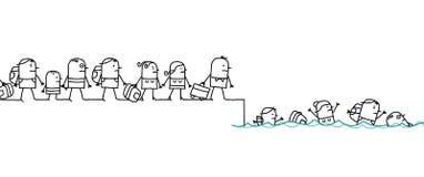 Kreskówki migrowania ludzie ilustracji
