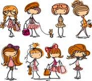 kreskówki mody dziewczyny wektor Zdjęcie Stock