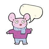 kreskówki mysz w odziewa z mowa bąblem Fotografia Stock