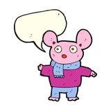 kreskówki mysz w odziewa z mowa bąblem Zdjęcia Royalty Free