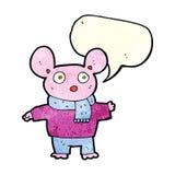 kreskówki mysz w odziewa z mowa bąblem Obrazy Royalty Free