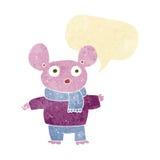 kreskówki mysz w odziewa z mowa bąblem Zdjęcie Royalty Free