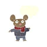 kreskówki mysz w odziewa z mowa bąblem Zdjęcia Stock