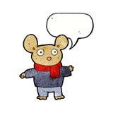 kreskówki mysz w odziewa z mowa bąblem Fotografia Royalty Free