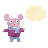 kreskówki mysz w odziewa z myśl bąblem Zdjęcie Stock