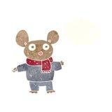 kreskówki mysz w odziewa z myśl bąblem Zdjęcia Royalty Free