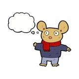 kreskówki mysz w odziewa z myśl bąblem Obraz Stock