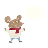 kreskówki mysz z myśl bąblem Zdjęcia Stock