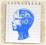 Kreskówki nakreślenia rysunkowa głowa na papier notatce, wektorowa ilustracja Obrazy Stock
