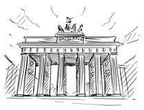 Kreskówki nakreślenie Brandenburg brama, Berlin, Niemcy ilustracji