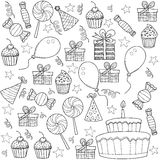 Kreskówki nakreślenie Clipart Ustawiający przyjęcie urodzinowe Zdjęcia Stock
