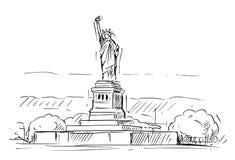 Kreskówki nakreślenie statua wolności, Nowy Jork, Stany Zjednoczone ilustracji